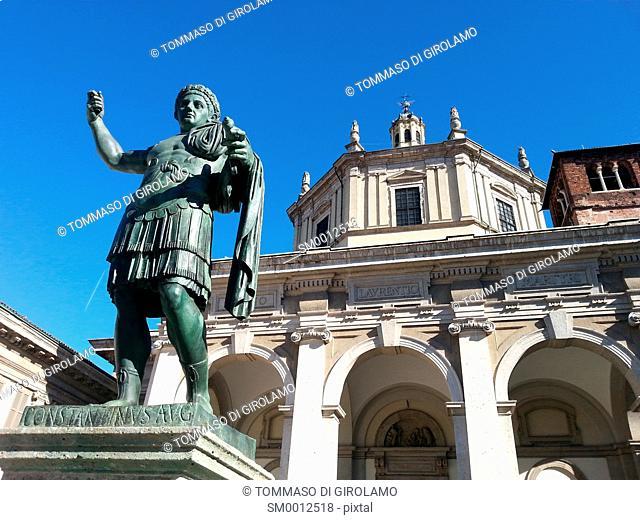 Italy, Milan, Basilica di San Lorenzo Maggiore, Roman Emperor Costantino