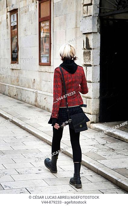 Young woman in old town, Zadar, Dalmatia, Croatia