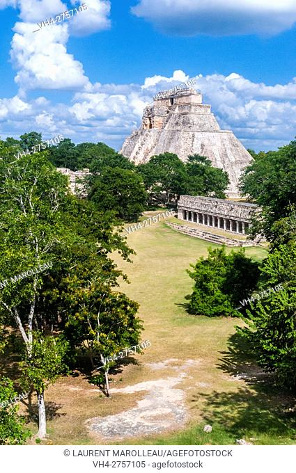The Pyramid of the Magician, Uxmal Mayan Archaeological site, State of Yucatan, Mexico, North America