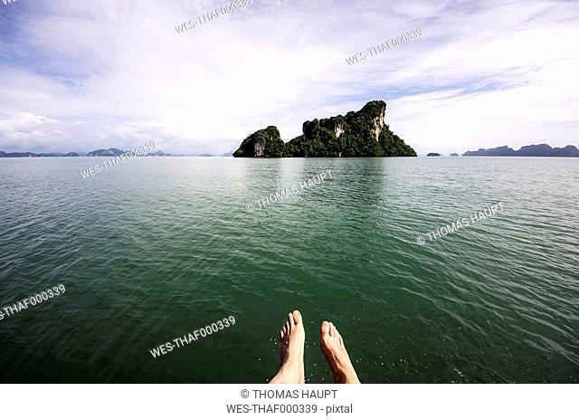 Thailand, Koh Yao Noi, Laem Sak, Rock formation in Andaman Sea