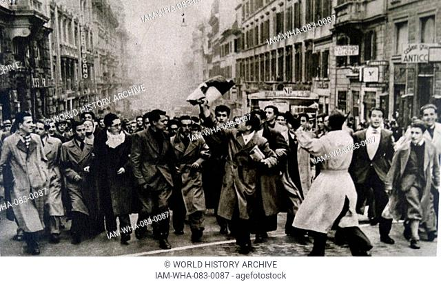 Photographic print of students rioting against Gian Galeazzo Ciano, 2nd Count of Cortellazzo and Buccari (1903-1944) Foreign Minister of Fascist Italy