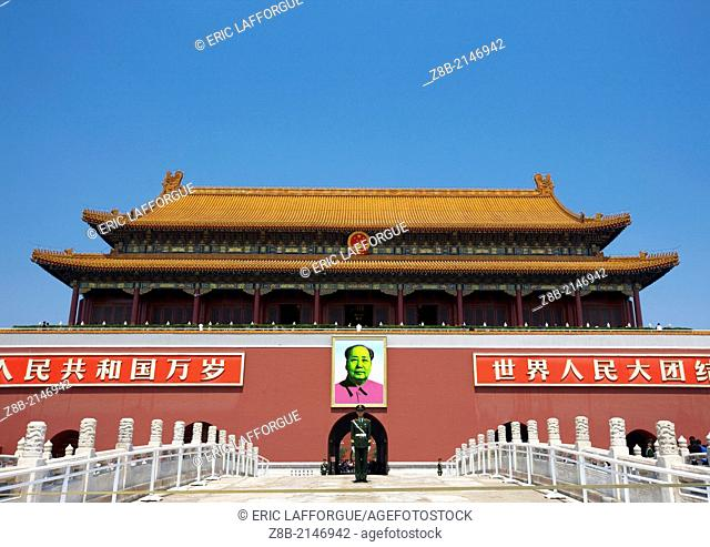 Photo Manipulation Of Mao In A Andy Wharol Style, Forbidden City, Beijing, China