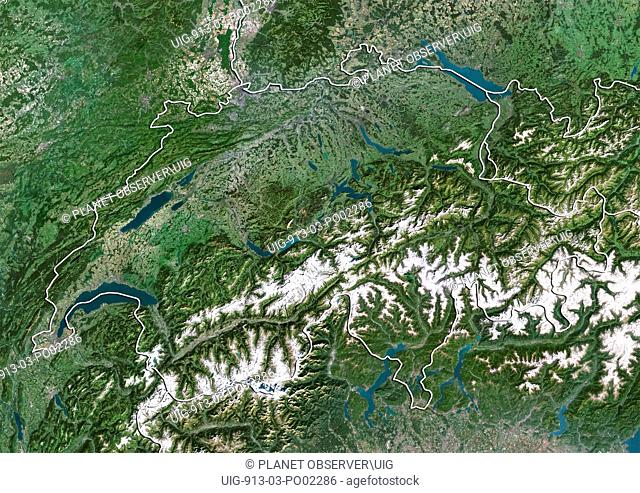 Satellite view of Switzerland with border. This image was compiled from data acquired by LANDSAT 5 & 7 satellites