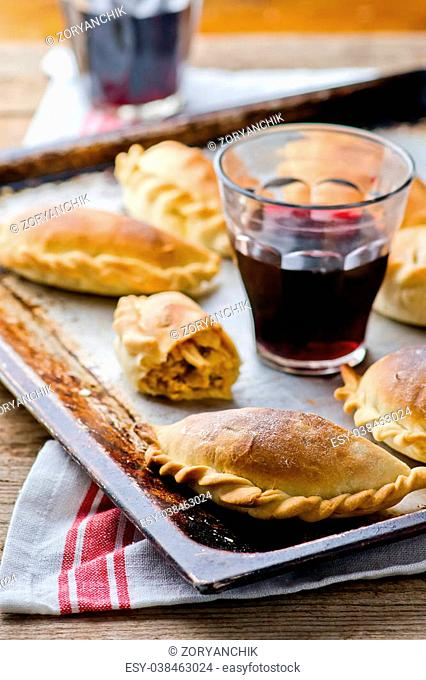 Empanadas ,traditional Argentina pies. style vintage. the image is tinted