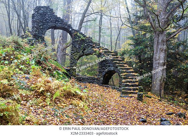 Madame Antoinette Sherri's castle ruins in Madame Sherri Forest of Chesterfield, New Hampshire USA during the autumn months