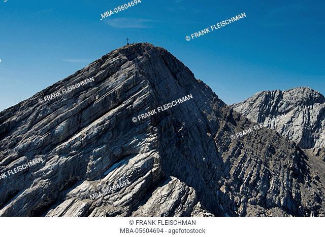 Alpspitze, Hochblassen, Garmisch-Partenkirchen, Alpspitz summit, aerial picture, Germany, Bavaria, Upper Bavaria, Bavarian alps, Werdenfelser Land