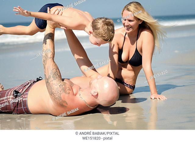 Summer fun day - Family on the beach, Riviera Nayarit, Mexico