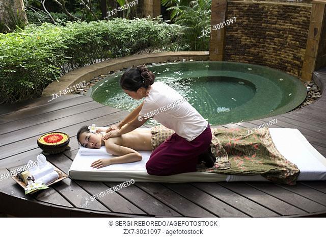 Massage in a spa of hotel Pimalai Resort, Kantiang Beach, Ko Lanta or Koh Lanta island, Krabi, Thailand, Asia. Pimalai Resort & Spa is a luxury beach resort...