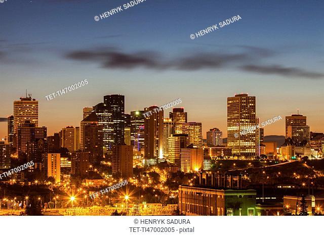 Canada, Alberta, Edmonton, Cityscape at dusk