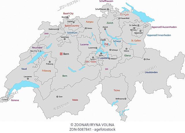 Grey Switzerland map