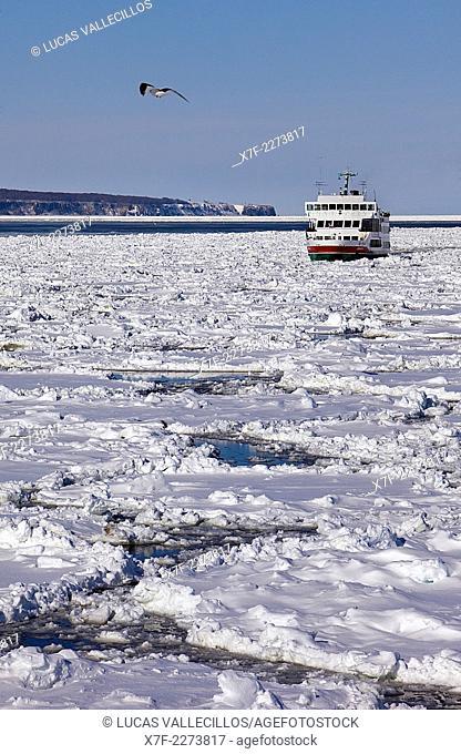 Frozen sea and sightseeing icebreaker, Aurora ship 2,Abashiri, Hokkaido,Japan