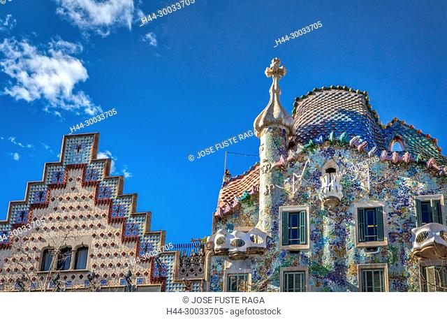 Barcelona City, Casa Batllo (Batllo house), Gaudi architect, Spain