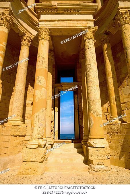 SABRATHA, LIBYA - APRIL 08: Sabratha was one of the three cities of Tripolis, it lies on the Mediterranean coast west of Tripoli
