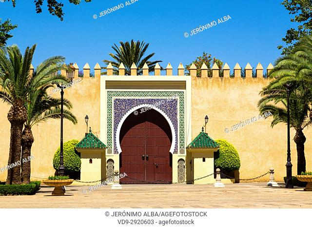 Dar El Makhzen Royal Palace from Place des Alaouites, modern city of Fez, Fes el Bali. Morocco, Maghreb North Africa