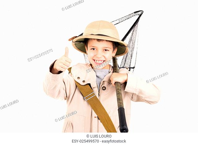Young boy with net playing Safari isolated in white