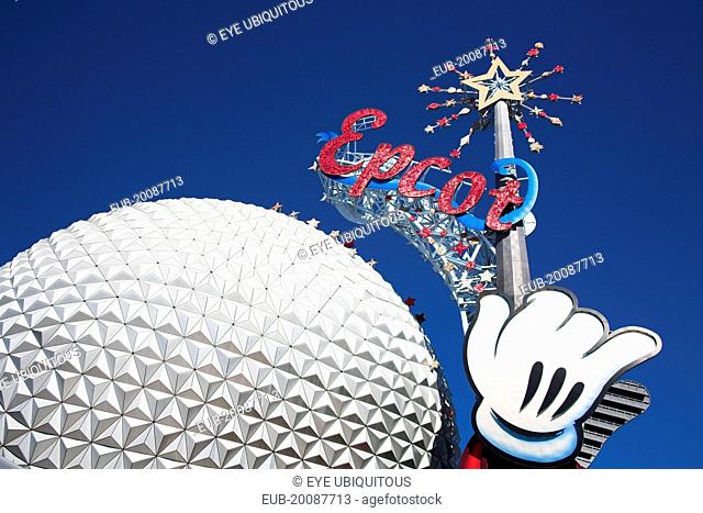 Walt Disney World Resort Epcot Center. Spaceship Earth with Epcot sign