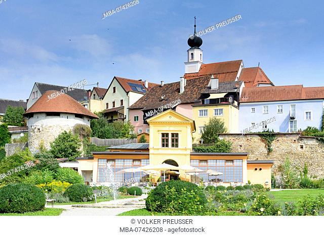 Schärding, garden Orangerie (orangery), church Am Stein, Innviertel region, Upper Austria, Austria