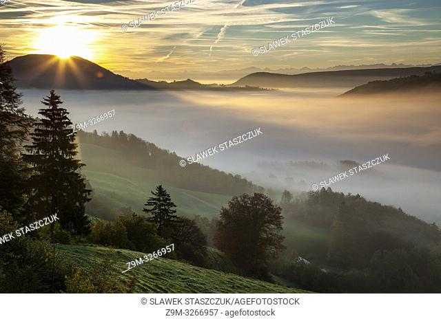 Sunrise in Thal Nature Park, canton Solothurn, Switzerland