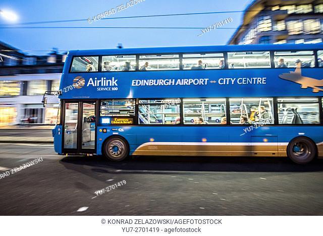 Double decker bus at Princes Street in Edinburgh, Scotland in UK