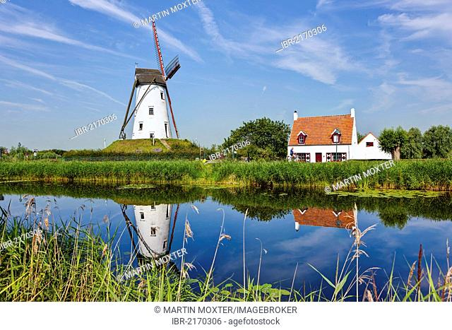 Windmill on the canal between Bruges and Damme, Damse Vaart-Zuid, Damme, Bruges, West Flanders, Flemish Region, Belgium, Europe