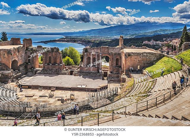 The ancient theater of Taormina was built in the 2nd century BC. It is also known as Teatro Greco (Greek theater), but it is Roman building