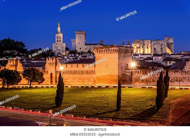 France, Provence, Vaucluse, Avignon, old town, city wall, Papal palace, view from the Pont Edouard Daladier