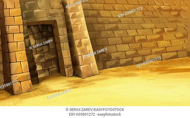 Digital painting of Entrance to the Egyptian pyramid. Mystic and secret scene