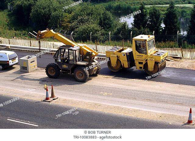 Motorway Construction M25 Road Roller Tarmac Laying England