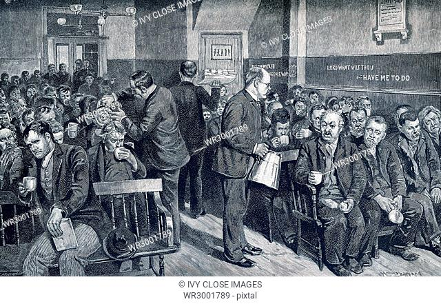 This late 19the-century illustration shows Coffee Night at the Water Street Mission - a weekly feast for tramps, outcasts, and bums