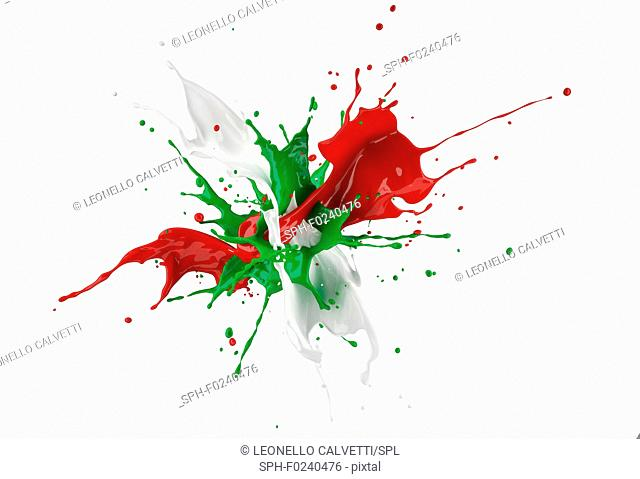 Red, white and green paint splash explosion isolated on white background