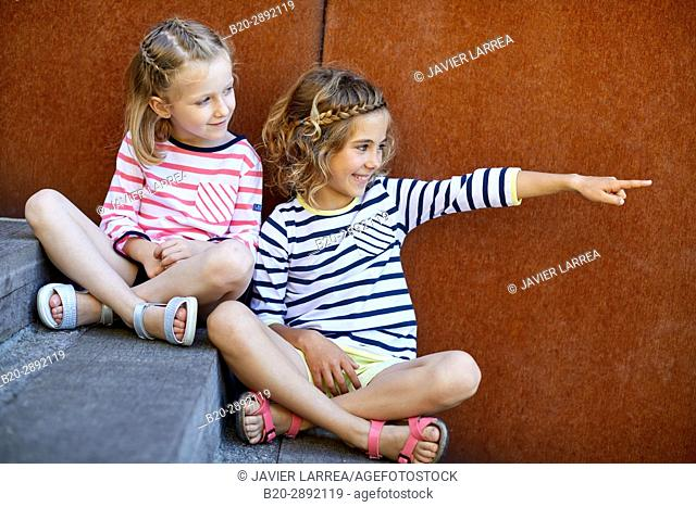 Girls, Children, Mollarri Interpretation Center, Marine clothing, Zarautz, Gipuzkoa, Basque Country, Spain, Europe