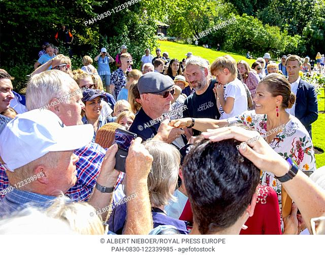 Crown Princess Victoria of Sweden at Solliden Palace in Borgholm, on July 14, 2019, to attend the celebrations of Crown Princess Victoria her 42nd birthday