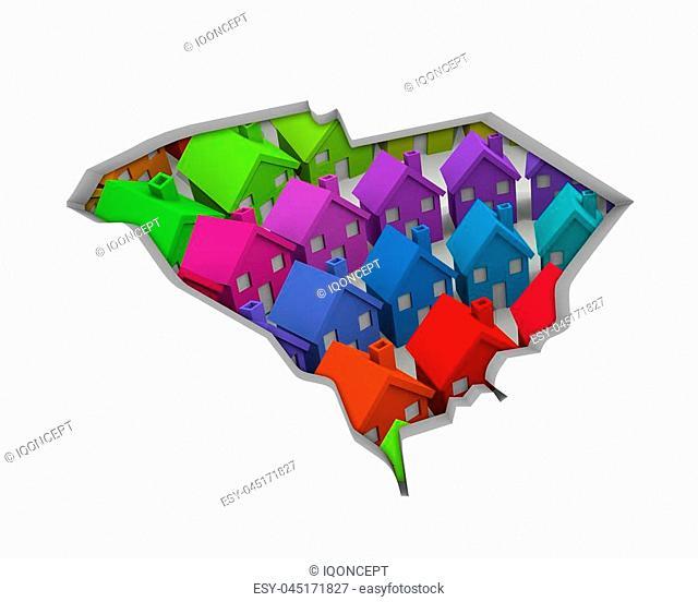 South Carolina SC Homes Homes Map New Real Estate Development 3d Illustration