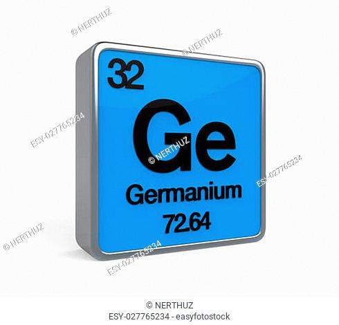 Germanium Element Periodic Table isolated on white background. 3D render