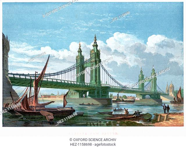 Chelsea Bridge, London, 1858. Thomas Page (1803-1877) was the engineer of this suspension bridge over the Thames, which opened in 1858