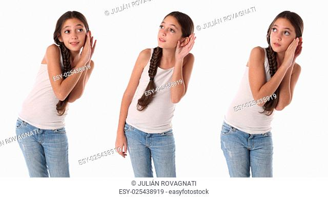 Collage of a young girl listening something. Isolated