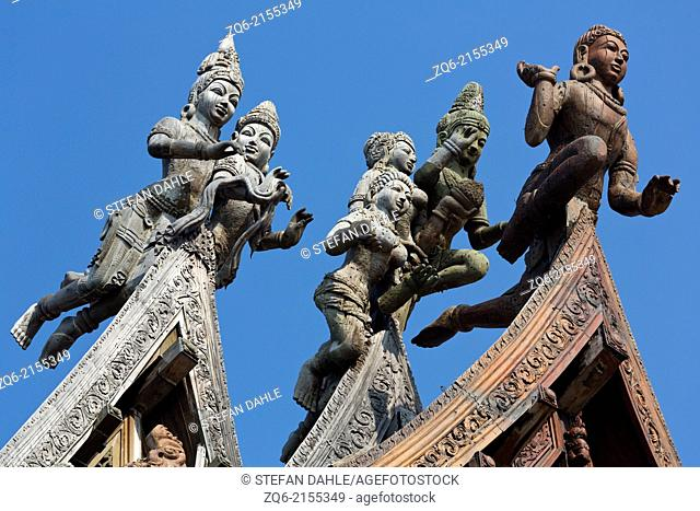 Wooden Sculptures on the Rood of the Sanctuary of Truth in Pattaya, Thailand