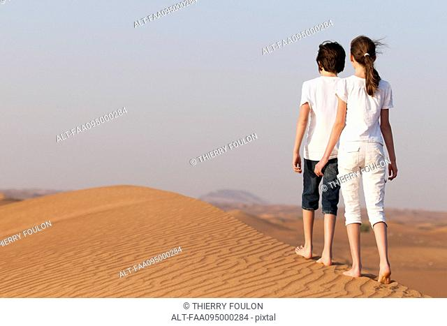 Brother and sister walking on sand dune, rear view