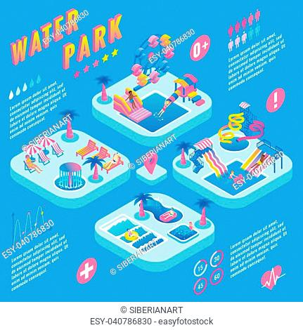 Water park vector isometric infographic with different types of slides, swimming pools, ferris wheel, whirlpool bath, fountains, relaxation and children areas