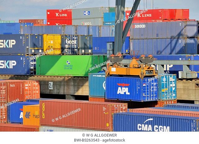 containership is loaded, Germany, North Rhine-Westphalia, Ruhr Area, Duisburg