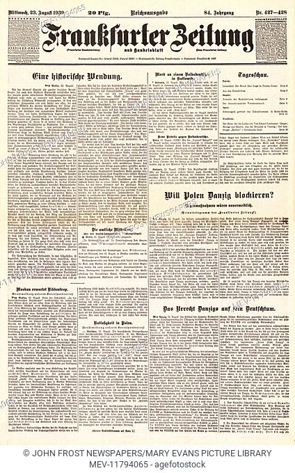 1939 Frankfurter Zeitung (Germany) front page Molotov-Ribbentrop Pact