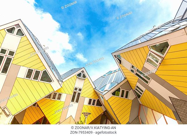 ROTTERDAM; Netherlands - APR 7: Cube houses designed by Piet Blom on April 7; 2015 in Rotterdam; Netherlands. They represents a village where each house is a...