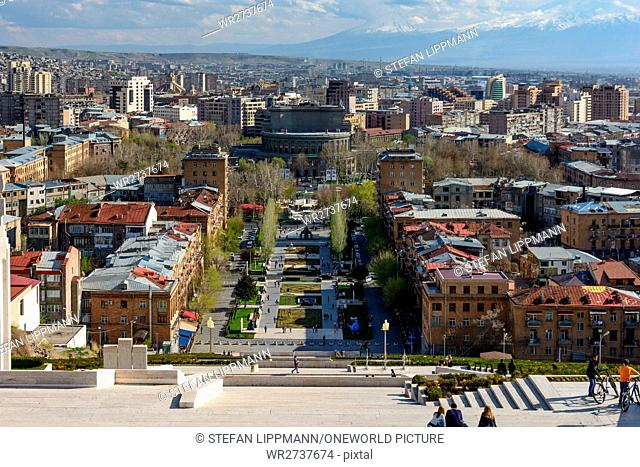 Armenia, Yerevan, Kentron, view from the cascade to the center with the Opera House. In the background the Ararat massif