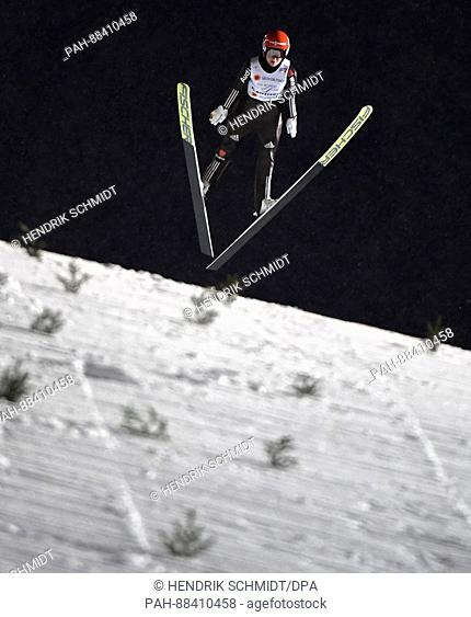 German athlete Carina Vogt completes a jump at the FIS Nordic World Ski Championships 2017 in Lahti, Finland, 24 February 2017
