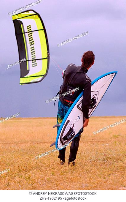 Kitesurfing kiteboarding, Back sea, Odessa, Ukraine