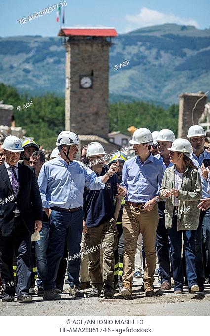 Canadian premier Justin Trudeau and his wife Sophie Gregoire visit Amatrice, the country destroyed by the earthquake of August 24