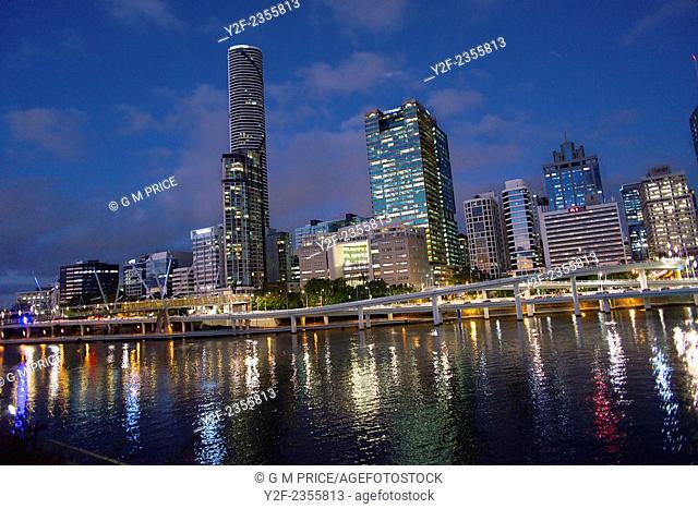 Brisbane river and city skyline at dusk