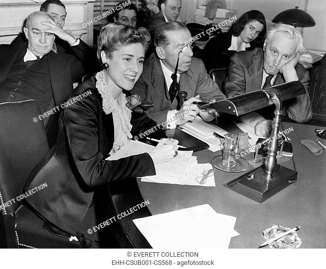 Clara Booth Luce, during Lend Lease bill extension hearings on Feb. 16, 1943. Congresswoman Booth testified before the house Foreign Relations Committee