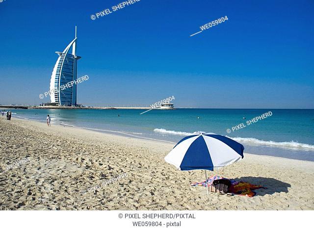 Middle East, UAE (United Arab Emirates), Dubai Burj al Arab beach