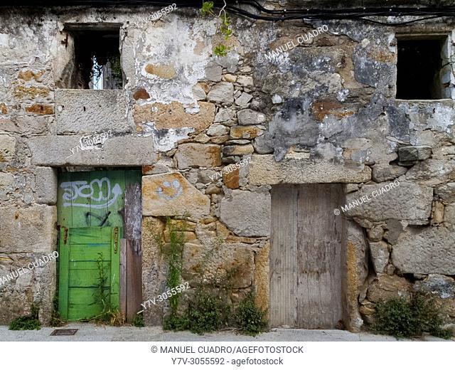 Dilapidated house. Porto de Son, Galicia. Spain